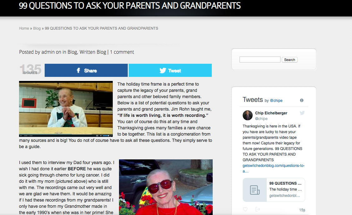 Preserving a Legacy: 98 Questions to Ask Your Parents and