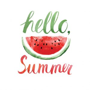 37892744 - hello summer,watercolor lettering with watermelon